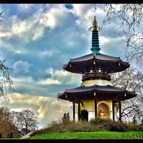 peace of mind by Jinesh Solanki - Buildings & Architecture Statues & Monuments ( temple, cool, god, sky, london, hdr, blue, green, peace, high dynamic range, buddha )