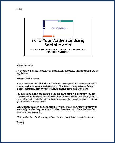 Build Your Audience Using Social Media - Speaker Notes