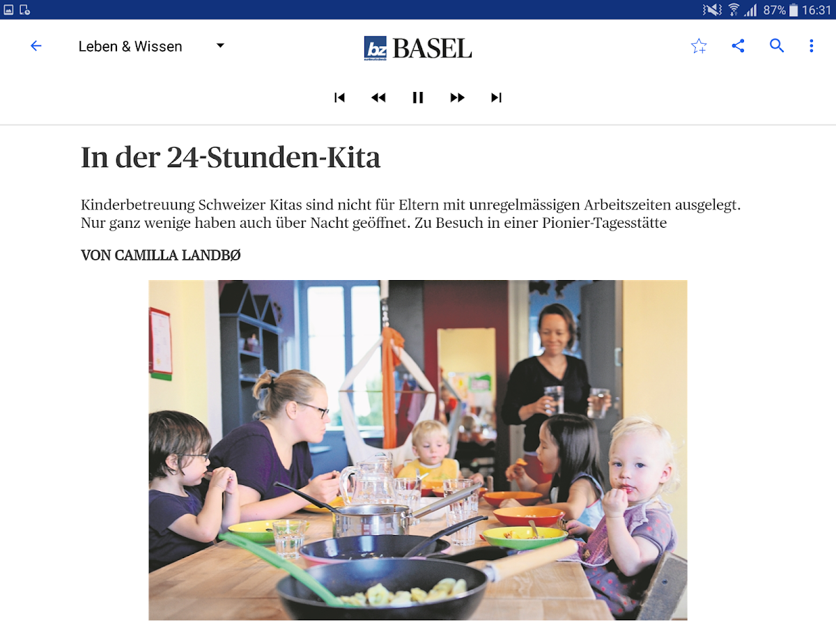 bz Basel E-Paper- screenshot