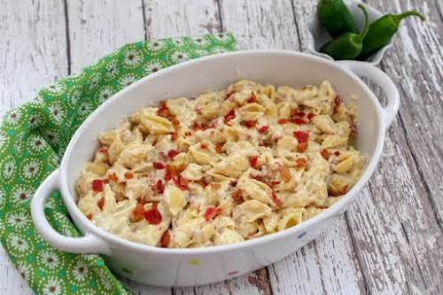 """Bacon and Pepper Jack Mac & Cheese """"Creamy with loads of bacon...."""