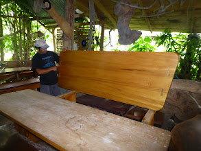 Photo: Guillermo Vaca, the carpenter who built the house and these tables