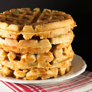 Beer Raised Waffles with Cheddar and Scallions.