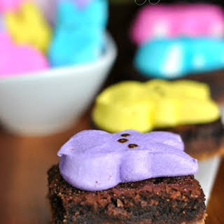 Layered S'mores Brownies with PEEPS.