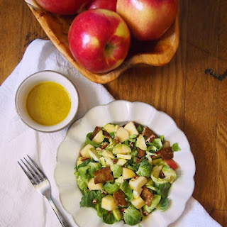 Brussels Sprouts Salad with Ambrosia Apples and Tempeh Bacon