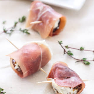 Prosciutto Wrapped Goat Cheese Stuffed Dates.