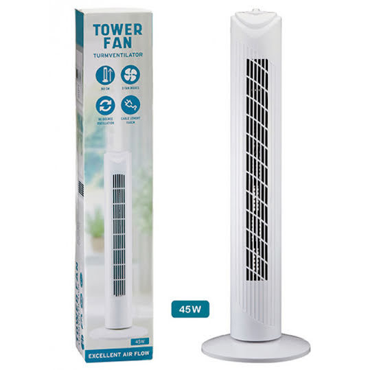 Tower fan made of plastic white (H) 80cm