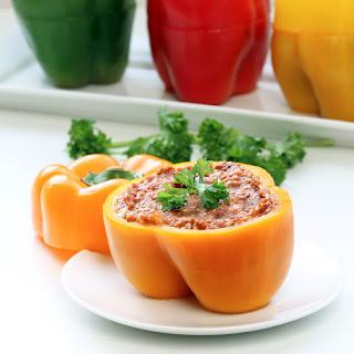 """Cheesy"" Eggplant Stuffed Peppers (Gluten-Free, Vegan / Plant-Based)"