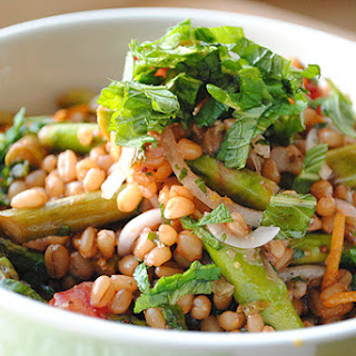 Wheatberry Salad with Mint, Roast Asparagus, and Blood Oranges