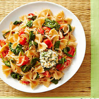 Summer Vegetable Pasta with Crispy Goat Cheese Medallions.
