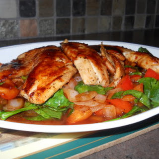 Sweet & Spicy Tilapia with Baby Spinach.