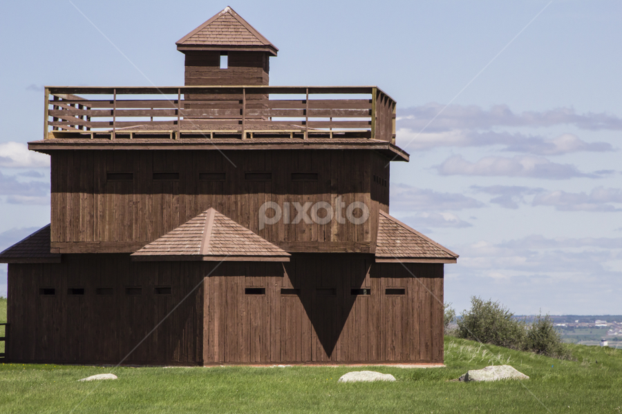 Fort Abraham Lincoln State Park Guard Tower by Julie Wooden - Buildings & Architecture Public & Historical ( partly cloudy, north dakota, inanimate object, fort abraham lincoln state park, green, mandan, outdoors, watch tower,  )