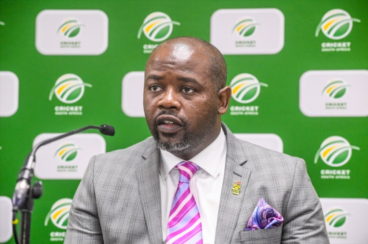 CEO Thabang Moroe of CSA during the Cricket South Africa (CSA) and South African Cricketers' Association (SACA) Joint media briefing at CSA Offices on July 31, 2018 in Johannesburg, South Africa.