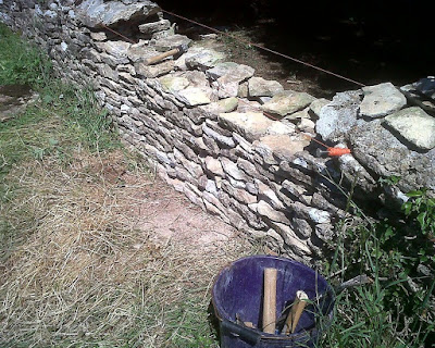 Farm walls made from dry stone are common place in the Cotswolds. This on is being rebuild by Duncan Burnell, Dry Stone waller