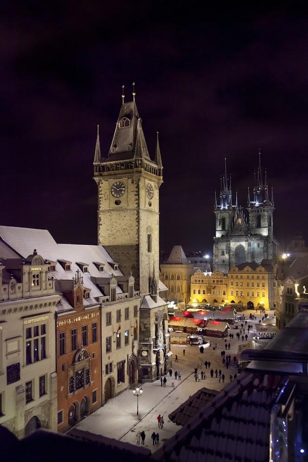 Staroměstské náměstí by Yurii Kaluzha - City,  Street & Park  Historic Districts ( staroměstské náměstí, night, lights, city,  )