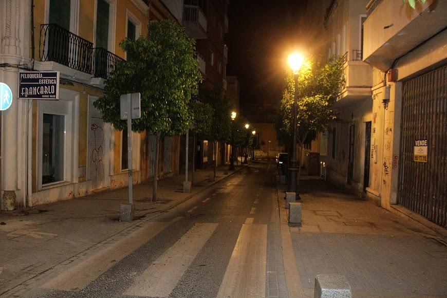 La calle Real sin ningún tipo de tráfico rodado ni peatonal.