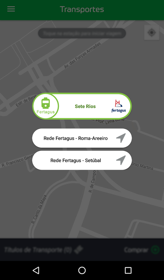 Via Verde Transportes– captura de ecrã