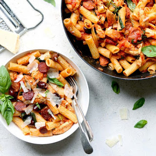 Chicken and Chorizo Pasta with Spinach Recipe