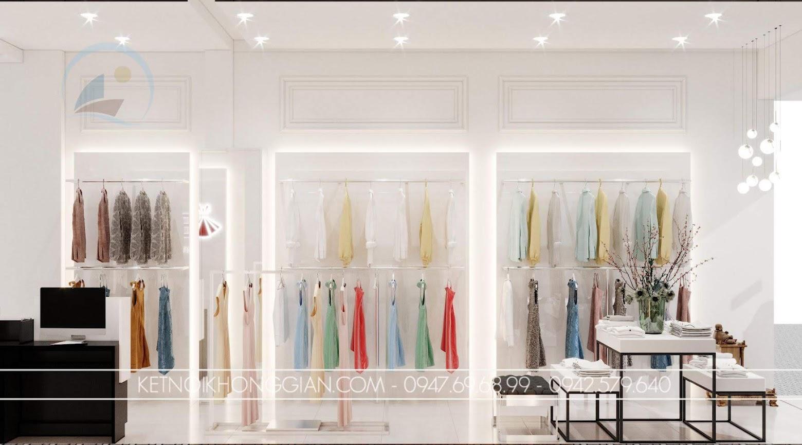 trang trí ánh sáng cho shop thời trang