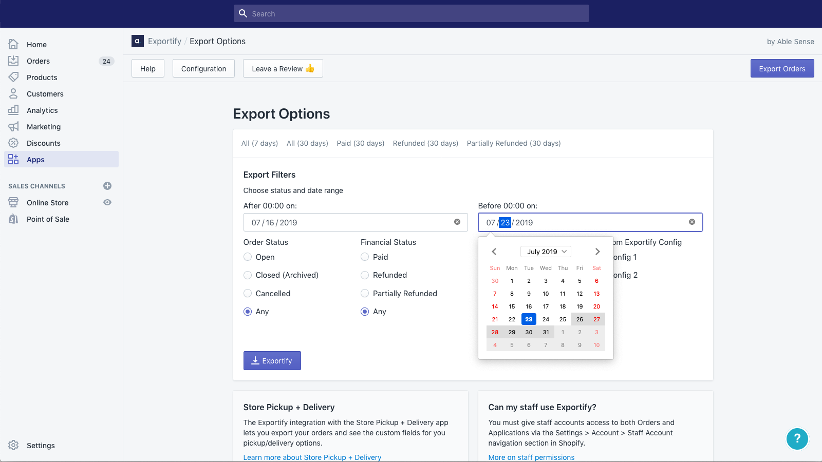 What is Shopify export?