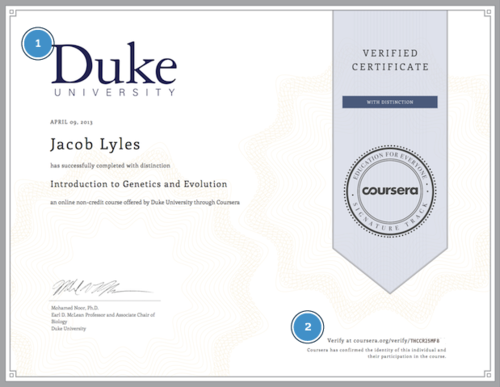 Certificate obtained by a Coursera