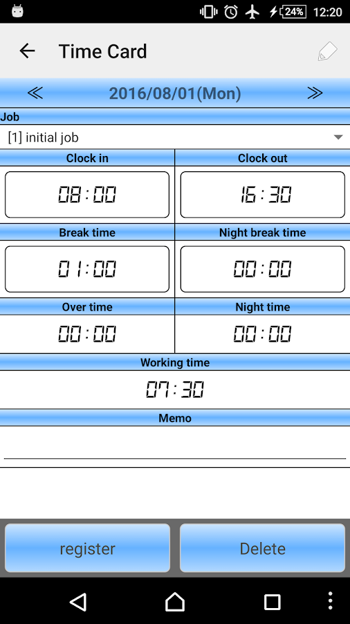 Time card- screenshot