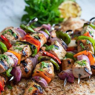 Pork Kebabs with Honey Mint Sauce.