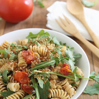 Cream cheese BLT pasta salad with garlic butter breadcrumbs.