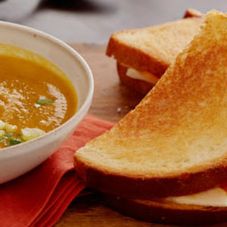Curried Squash Soup with Apple and Cheddar Melts