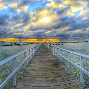 Long walk down a short pier by Ann Goldman - Novices Only Landscapes ( pier sunset hull,  )