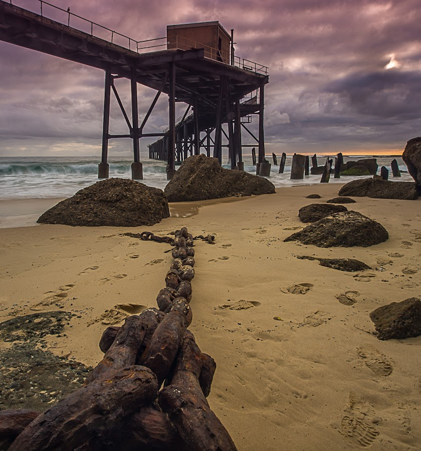 Catherine Hill Wharf by Jose Rojas - Landscapes Sunsets & Sunrises ( old chain, jetty, seascape, sunrise, wharf, catherine hill wharf,  )