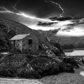 Stormy Cove by Tony Simcock Eadie - Black & White Landscapes ( lightning, black and white, cove, historical, seascape, old building, storm, landscape, , bolt )