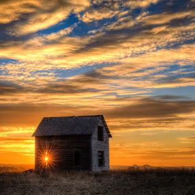 Abandoned in South Dakota by Kendra Perry Koski - Buildings & Architecture Decaying & Abandoned ( tripp county, old, november, wood, hdr, 2013, beautiful, south dakota, winner, architecture, sun flare, prairie, weathered, blue sky, autumn, sunset, fall, kendra perry-koski, buildings, weathered wood, alone, abandoned, dakota winds photography, , #GARYFONGDRAMATICLIGHT, #WTFBOBDAVIS )