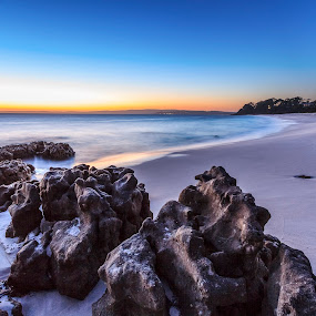 Sunrise at Chinamans by Andy Hutchinson - Landscapes Beaches ( sand, waves, ocean, beach, sunrise, rocks )