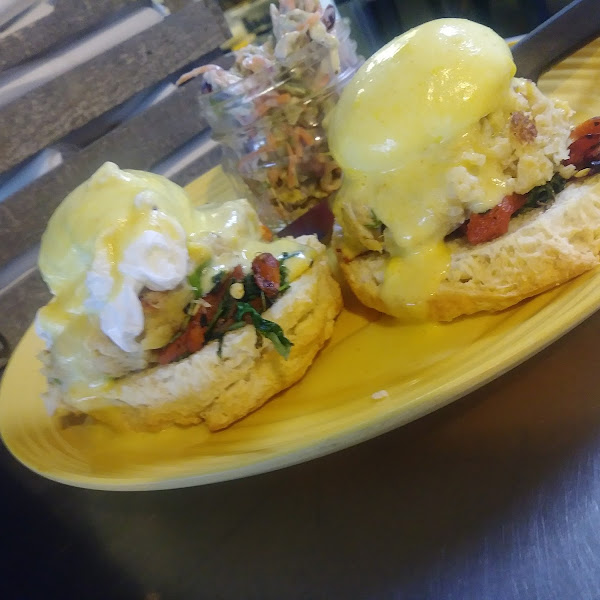 Crabcake benedict-biscuits can be subbed out to Gluten Free bread