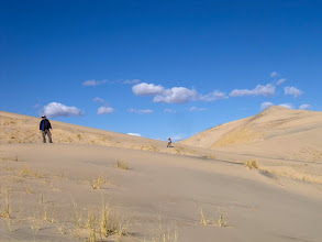 Photo: V decided to take the easternmost dune. M and I took  slightly different trails and would be a bit up ahead.