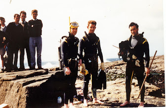 Photo: Pollock Holes, Kilkee.  Founder Members, from left: Ronnie Hurley, Johnnie Ryan and Billy Maloney.