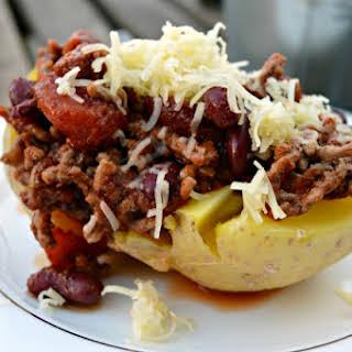 Chili Stuffed Baked Potatoes.