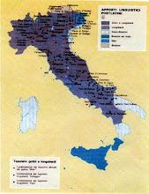 Photo: Cartina che evidenzia in colori diversi gli apporti linguistici post-latini: gotici e longobardi, longobardi, greco-bizantini, bizantini ed arabi, slavi e bavaresi