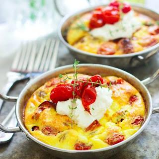Roasted Tomato, Italian Sausage, and Ricotta Frittatas