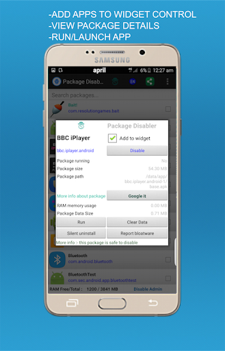 Screenshot for Package Disabler Pro+ (Samsung) in United States Play Store