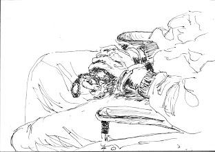 Photo: 上銬的手(一)2011.04.19鋼筆 坐在輪椅上,雙手上著手銬,而手裡握著的是綁在腳鐐上的繫繩…