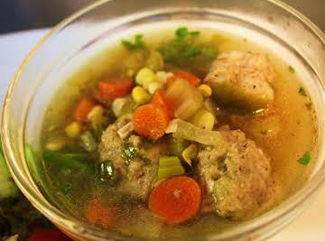 Chicken Meatball Soup with Watercress