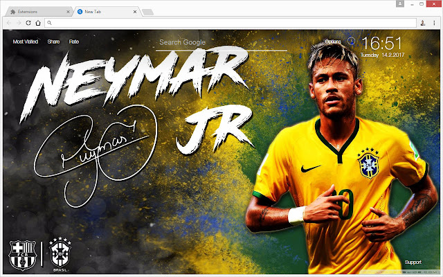 New Tab Themes With HD Wallpapers Of Neymar Jr