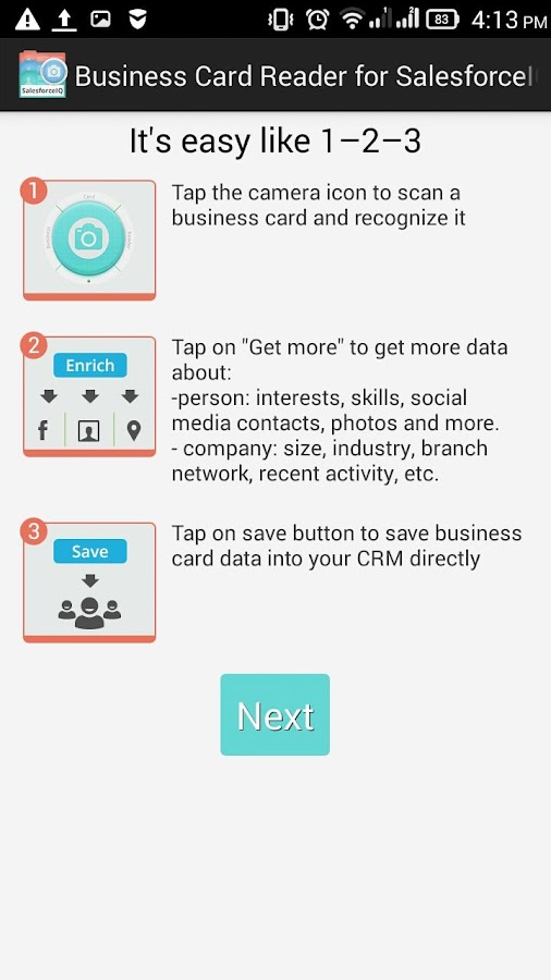 Free Business Card Reader for SalesforceIQ CRM- screenshot