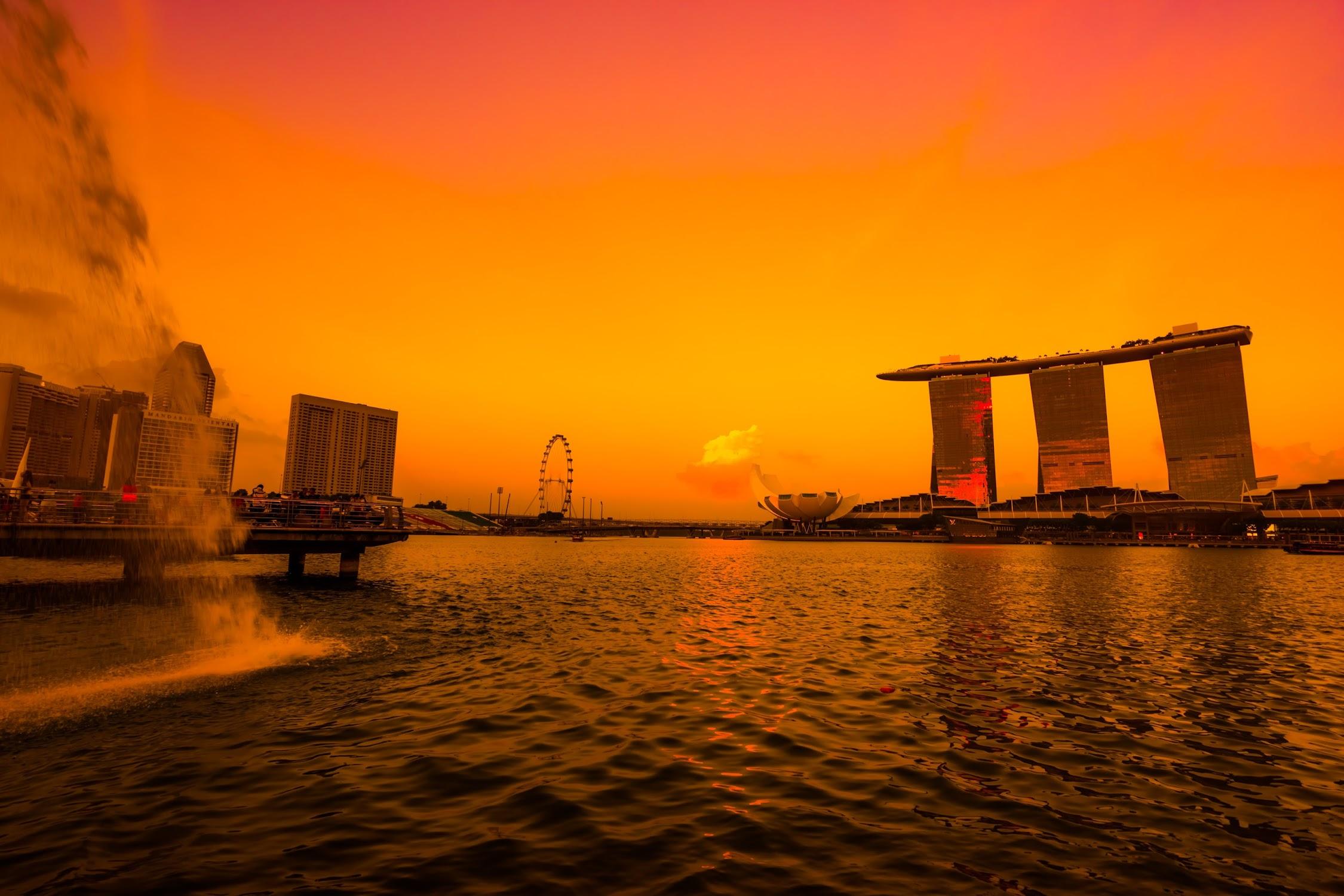 Singapore Merlion sunset3
