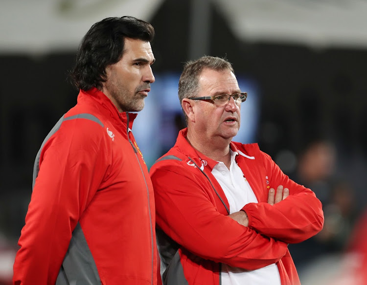 Swys de Bruin and Victor Matfield during the 2017 Currie Cup rugby match between the Lions and Sharks at Ellis Park, Johannesburg on 12 August 2017.