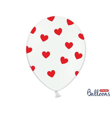 Ballonger - Vita med röda hjärtan