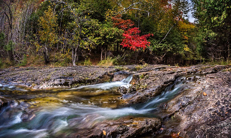 Eugenia Falls on Ontario's Bruce Peninsula during autumn.