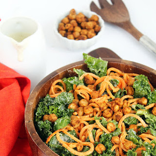 Vegan Kale and Sweet Potato Noodle Caesar Salad with Crispy Spiced Chickpeas.