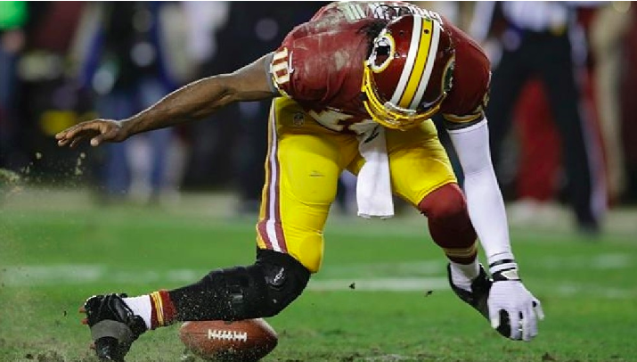 NFL player Robert Griffin with a terrible leg injury.